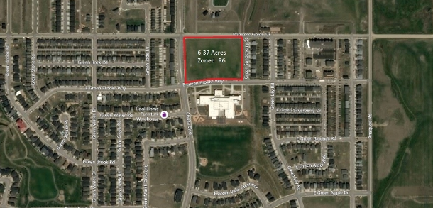 6.37 acre property zoned R6, multi-family development site on corner of Chuka Boulevard and Green Brooks Way in Regina Saskatchewan Green on Gardiner
